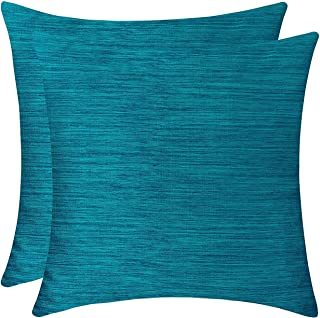 The White Petals Teal Blue Cushion Covers for Sofa, Couch & Bed (16x16 inch, Pack of 2)