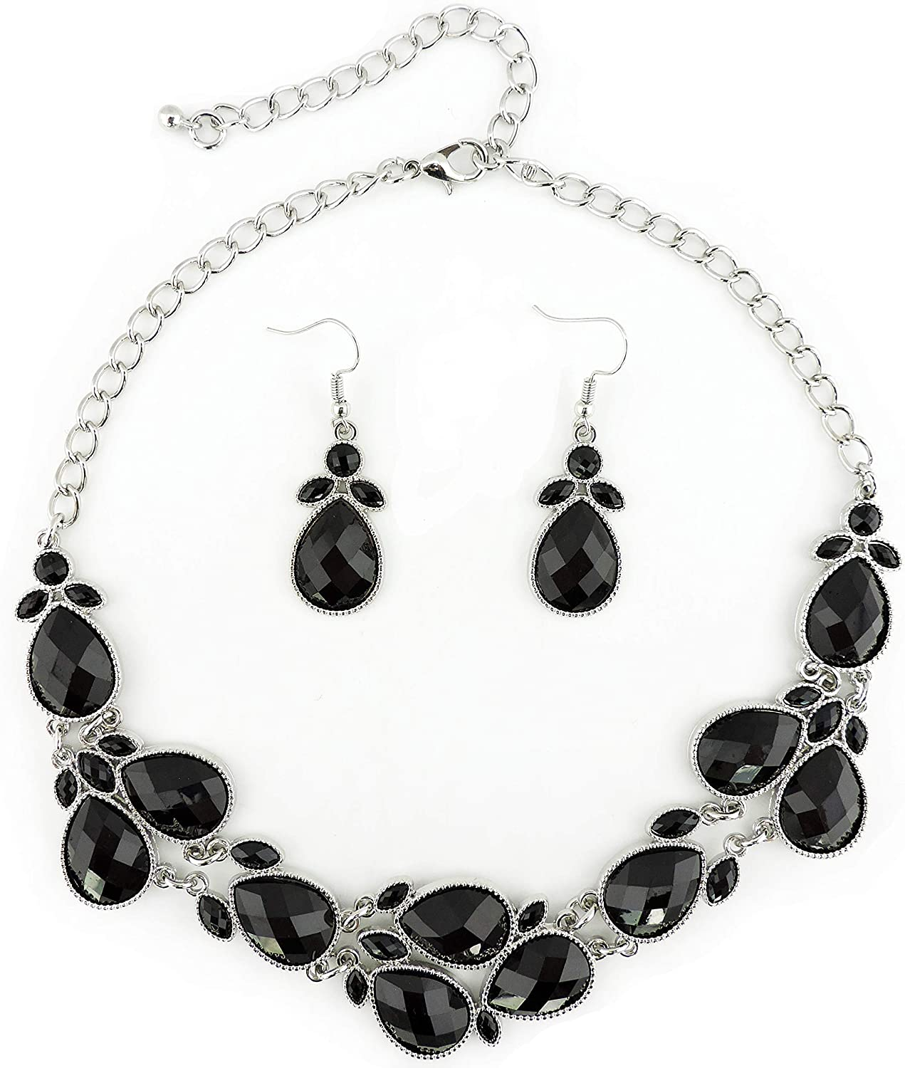 Firstmeet Shiny Resin Drill Collar Necklace with Earrings