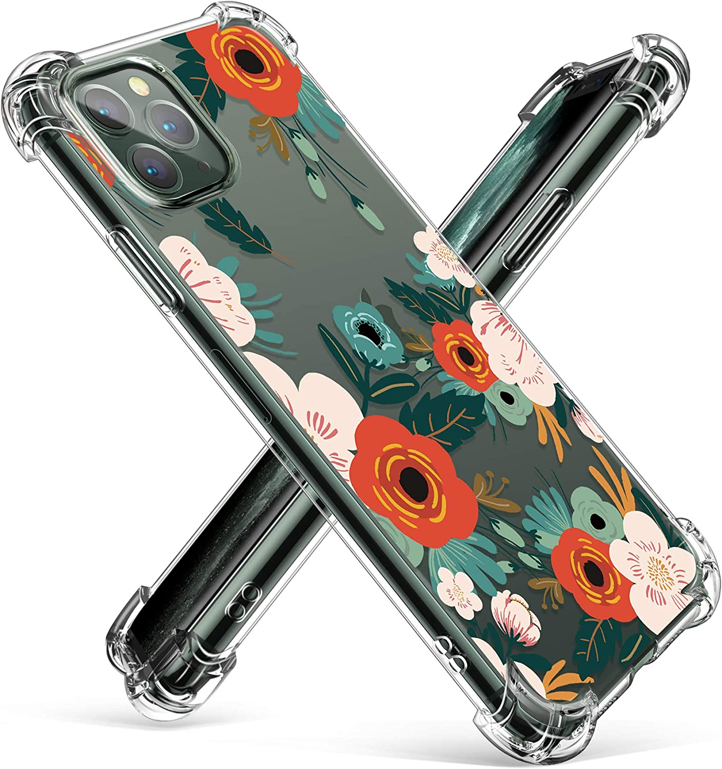 GVIEWIN Floden Lite Series Case Compatible with iPhone 11 Pro Max 6.5 Inch 2019, Clear Flower Design Soft & Flexible TPU Slim Shockproof Bumper Protective Floral Cover Case (Flowering/Reseda Green)