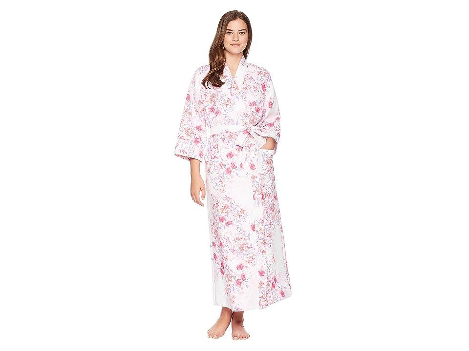 Carole Hochman Diamond Quilt Elbow Sleeve Robe (Modern Floral) Women