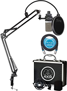 AKG C214 Large-Diaphragm Condenser Microphone for Vocals, Guitars, Pianos, String and Percussion Instruments Bundle with Blucoil 10-FT Balanced XLR Cable, and Boom Arm Plus Pop Filter