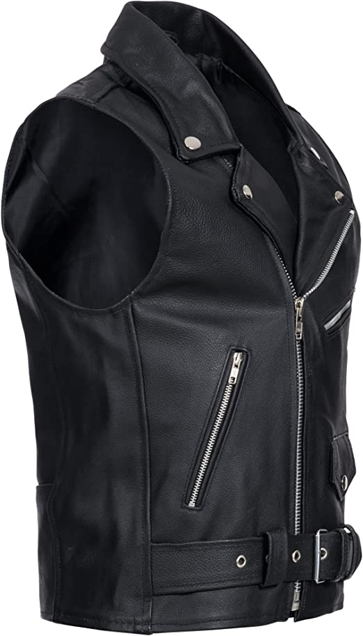 Homme en cuir Brando Moto Veste Motard Moto parfait Belted Cire Veste