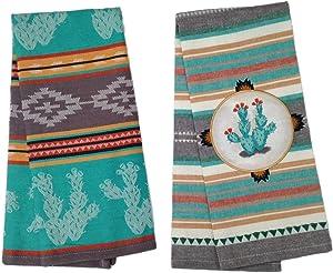 Simply Southwest Cactus Kitchen Towel Set, Woven Jacquard Tea Towel & Cactus Ornament Tea Towel