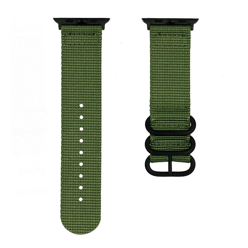 アップルウォッチ/Apple watch用交換バンド 軽やかな装着感のナイロン製 お洒落な3連ループ 38mm(40mm)/42mm(44mm) 単色/ストライプ 全10色 (38mm, グリーン)