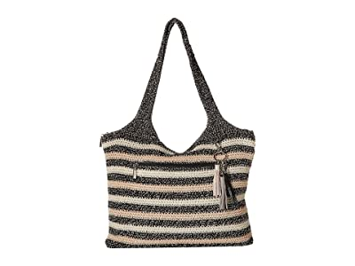 The Sak Casual Classics Large Tote (Salt & Pepper Stripe) Tote Handbags