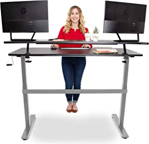 """Stand Steady Tranzendesk 55 in Standing Desk with Clamp On Shelf   Easy Crank Height Adjustable Stand Up Workstation w/Attachable Monitor Riser   Holds 3 Monitors & Adds Desk Space (55""""/Silver Base)"""