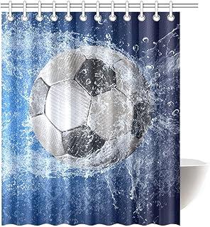 日本市場で強力 カスタムサッカーサッカー防水ポリエステル生地150cm(w)x 180cm(h)シャワーカーテンとフック