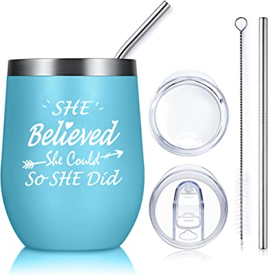Inspirational Gifts for Women,Graduation Gifts for Her 2021,She Believed She Could,So She Did Wine Tumbler with Lid and Straw,Birthday Gifts for Friends Female(Light Blue)