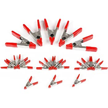 Pack of 12 Wideskall 2 inch Mini Metal Spring Clamps w//Red Rubber Tips Clips