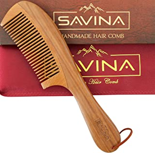 Wooden Hair Comb - 8.6 inch Reduces Breakage & Split Ends - Detangling Wood Comb for Thin & Straight Hair
