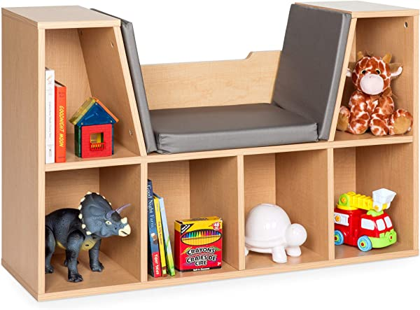 Best Choice Products Multi Purpose 6 Cubby Kids Bedroom Storage Organizer Bookcases Shelf Furniture Decoration W Cushioned Reading Nook Brown