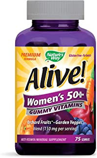 Nature's Way Alive! Women's 50+ Premium Gummy Multivitamin, Full B Vitamin Complex, 75 Gummies