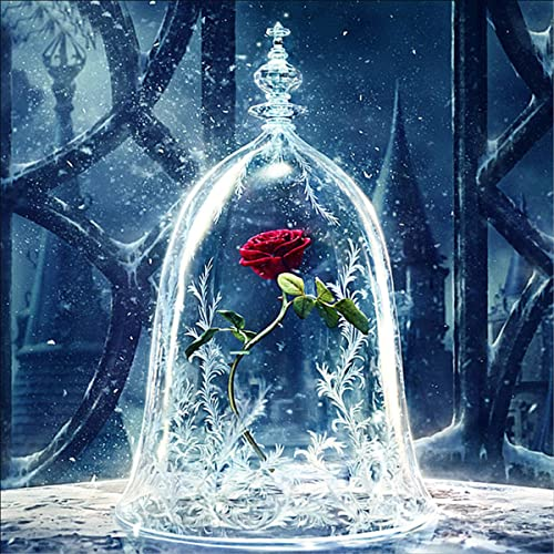 EOBROMD 5D Diamond Painting DIY Full Drill Rhinestone Embroidery for Wall Decoration A Sleepy Rose 12X12 inches