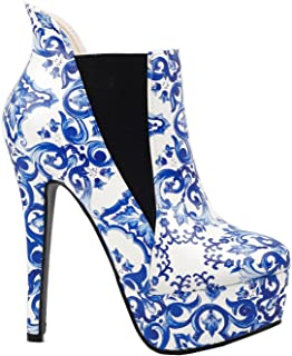Show Story Blue And White Porcelain Platform Stiletto Ankle Boot Bootie,LF80843