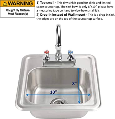 """ACE HS-0810IG Mini 13"""" x 13"""" Drop-In Hand Sink with Lead Free 3-1/2"""" Spout Faucet & Strainer, ETL Certified"""