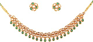 """NEW! Touchstone""""Contemporary Kundan Collection"""" Indian Bollywood Mughal Rich Kundan Look Faux Emerald Designer Jewelry Nec..."""