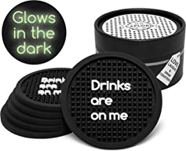 Coasters for Drinks, Dishwasher Safe, Patio Outdoor Silicone Absorbent Black Drink Coaster |Set of 6| Absorbing, Funny Quotes, Unique Hostess Gifts for Women Kitchen Couple, Men (Drinks are on me)