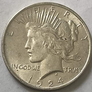 1924 P Silver Peace Dollar AU Condition Almost Uncirculated