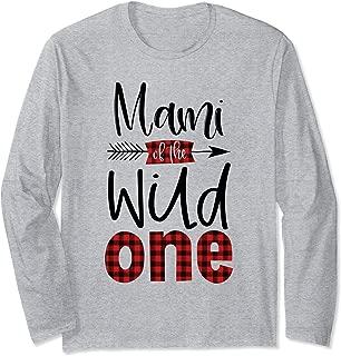 Mami of the Wild One Buffalo Plaid Lumberjack 1st Birthday Long Sleeve T-Shirt