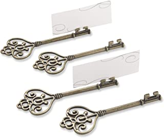 Kate Aspen Set of 4 Victorian Style Key Place Card Holder, Key to My Heart