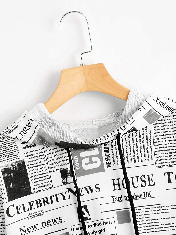 WDIRARA Women's Newspaper Print Long Sleeve Drawstring Hoodie Casual Sweatshirts