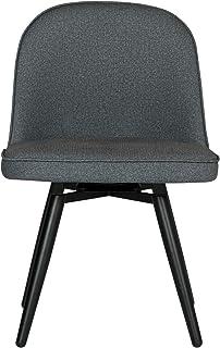 Studio Designs 家庭圆顶软垫无扶手旋转餐椅,带金属腿 炭灰色