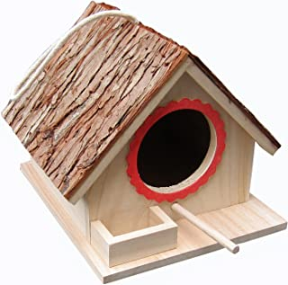 Tree Bark Roof Bird Feeding House, Bird Nesting Box, Assembled(READY TO USE),for Big Birds Like Cockatiel, Budgie, Parakeet, Dove as well as Small Birds Wren and Chickadee Species, Bluebirds etc