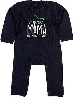 Kleckerliese Baby Strampler Schlafanzug Overall Sprüche Jungen Mädchen Motiv Ganz die Mama nur Pflegeleichter