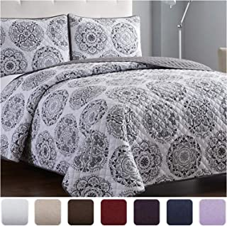 Mellanni Bedspread Coverlet Set Rosette-Gray – Comforter Bedding Cover –..