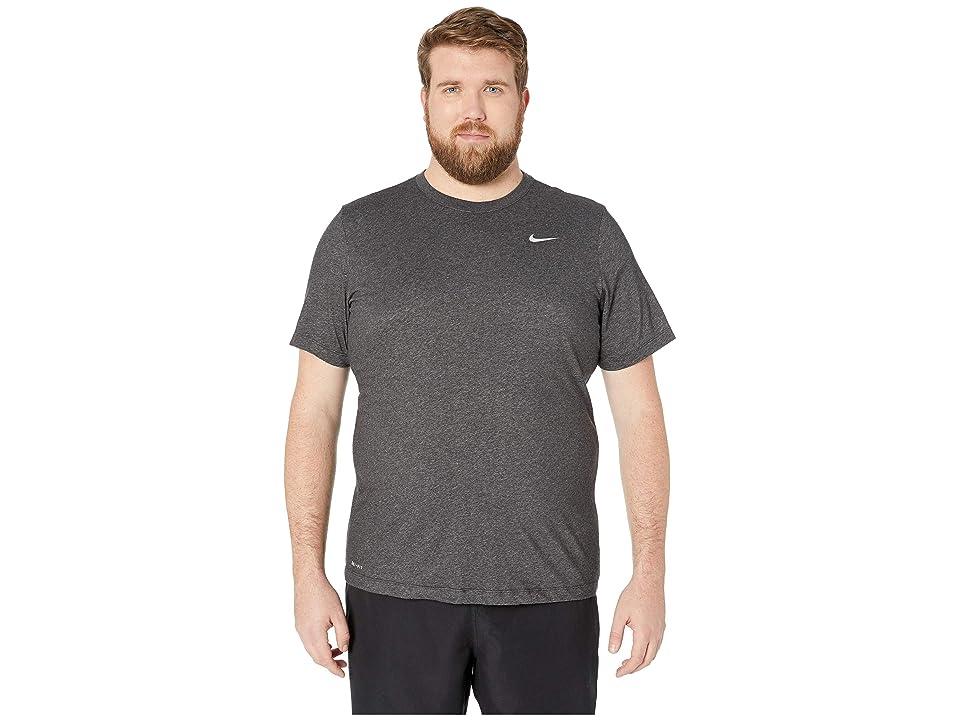 Nike Big Tall Dry Tee Dri-Fit Cotton Crew Solid (Black Heather/Matte Silver) Men