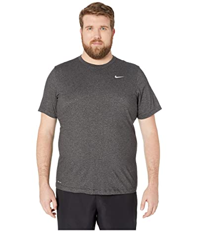 Nike Big Tall Dry Tee Dri-Fit Cotton Crew Solid (Black Heather/Matte Silver) Men