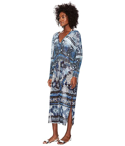 Store Sale FUZZI V-Neck Cover-Up Kaftan Batik Oltremare Clearance New Arrival Lowest Price Cheap Price Top Quality Sale Online pKSBrBQWVe