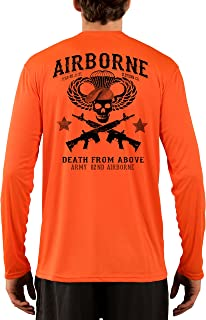 Dead Or Alive Clothing Men's Army 82ND Airborne UPF 50+ Long Sleeve T-Shirt X-Large Safety Orange