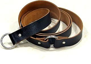 NauticalMart Leather Belt Medieval Knight Black Ring Belt Medieval Costume