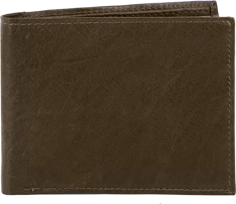Texan Bull Slim Bifold Mens Wallet RFID Signal Blocking Protection Brown