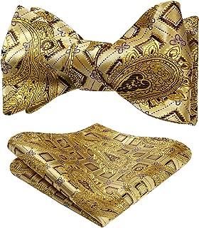 HISDERN Men's Paisley Floral Jacquard Self Bow Tie Pocket Square Set