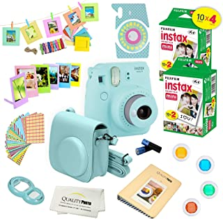 Fujifilm Instax Mini 9 ICE Blue Camera + Fuji INSTAX Instant Film (40 Sheets) + 14 PC Instax Accessories kit Bundle Includes; Instax Case + Photo Album + Frames & Stickers + Lens Filters + More