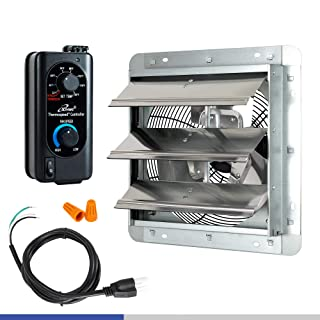 """iLIVING 12"""" Shutter Exhaust Fan with Thermospeed(TM) controller, 65W, 960 CFM, Silver (ILG8SF12V-ST)"""