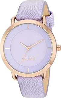Nine West Women's Rose Gold-Tone and Lavender Vegan Leather Watch, NW/2438RGLV