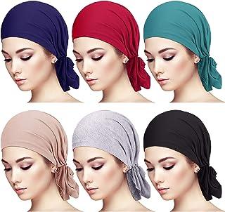 6 قطع سهلة الارتداء وشاح قبعات عمامة النساء قبعة صغيرة الرأس التفاف الرأس للنساء الفتيات (ألوان متنوعة)