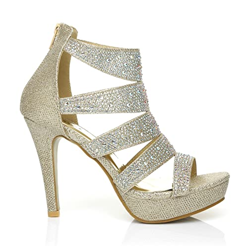 7c09b73f0413 Luxe Champagne Gold Caged Diamante Encrusted High Heel Platform Peep Toe  Sandals