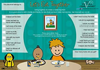 Children's Placemat - 'Let's Eat Together' Mealtime Activity Placemat - Learn Table Manners and Fun Play at The Table for 3yrs+ - a Parenting Solution - Wipe Clean (11 x 17 inches)