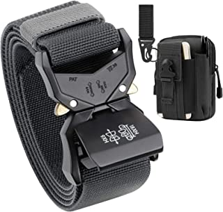 Mens Tactical Belt,Military Belt Rigger 1.5 Inches Nylon Web Work Belt with Heavy Duty Buckle, Gift with Tactical Molle Po...