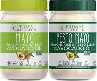 Primal Kitchen Avocado Oil Mayo Variety Pack - Includes 1 Original and 1 Pesto, Gluten and Dairy Free, Whol...