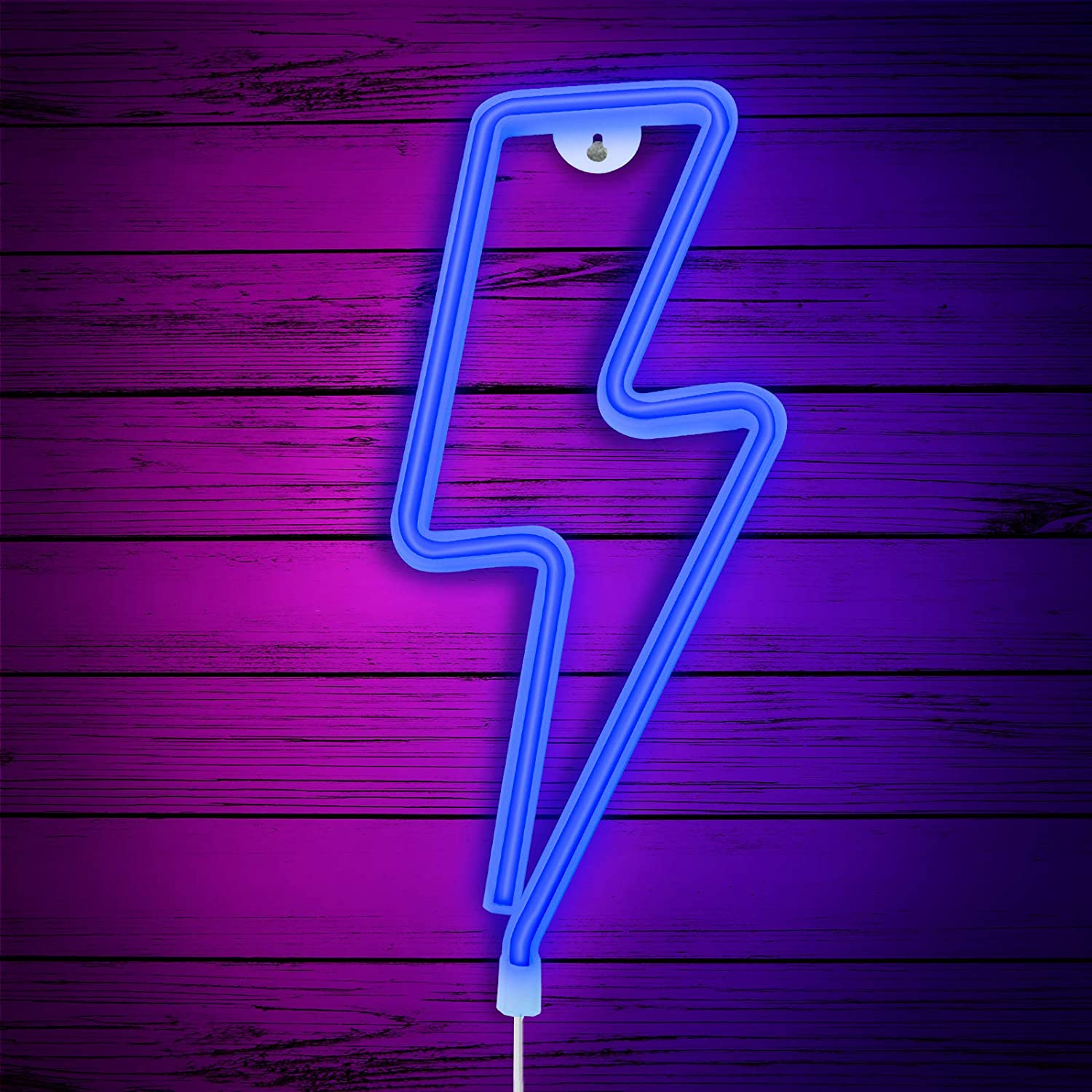 Lightning Bolt Neon Sign, Neon Signs for Wall Decor Bedroom, USB or Battery Decor LED Signs,Light Up Signs Decorative Neon Light Sign for Home,Halloween,Christmas,Party,Kids Living Room (Blue)