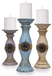 Besti Vintage Pillar Candle Holders (3-Piece Set) Tall, Decorative Metal Home Accents and..