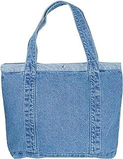 YunZh Denim Tote Bag Casual Style Lightweight Classic Retro Travel Shopper Shoulder Handbag