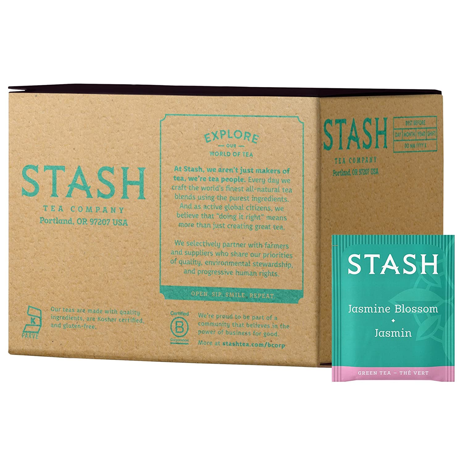 Stash Tea Jasmine Blossom Factory outlet Green Box 100 Limited time cheap sale Bags of