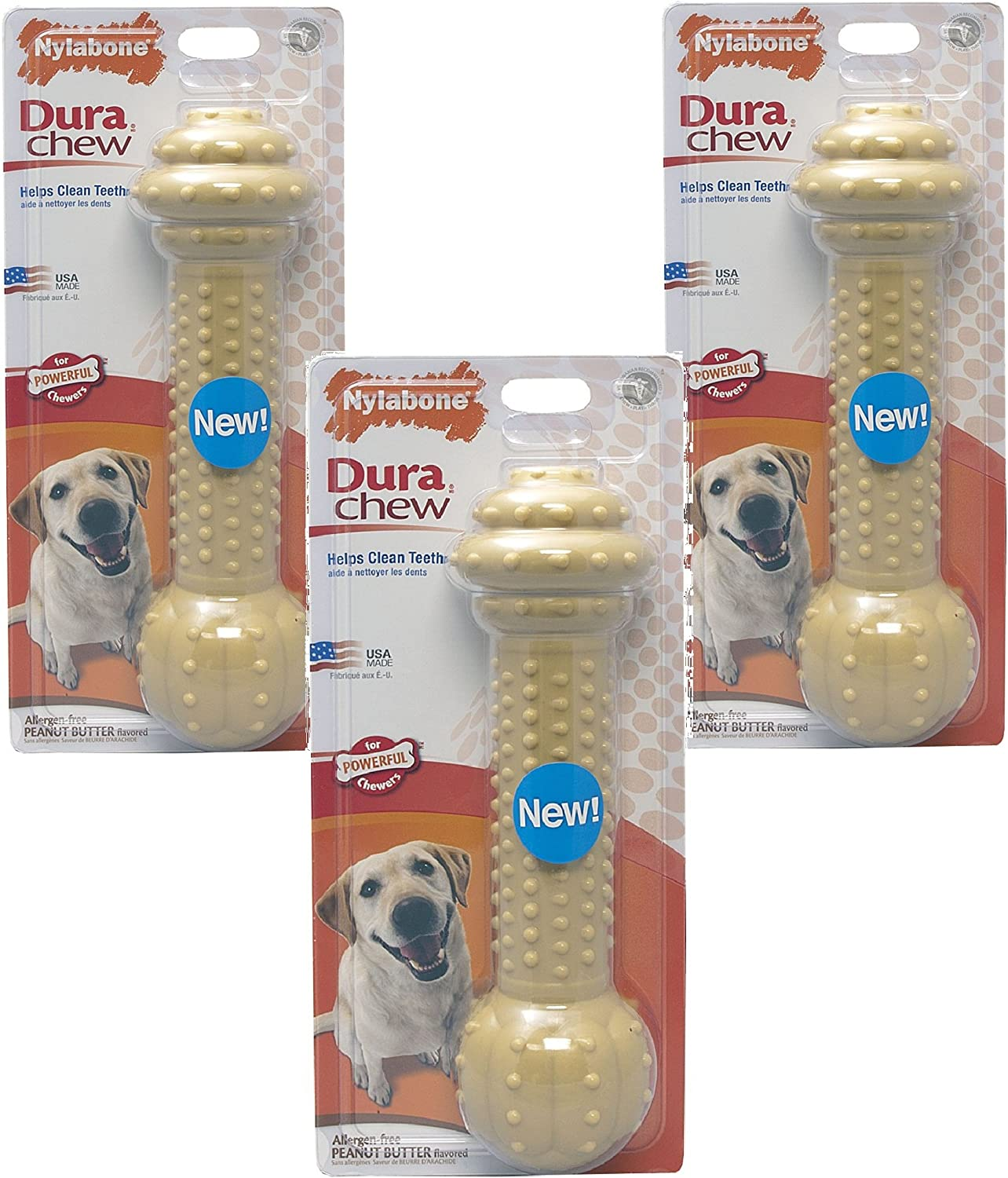 (3 Pack) Nylabone Monster XL Dura Chew Barbell Dog Chew Toy  Peanut Butter Flavored