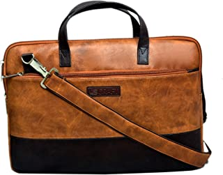 U.S CRAFT Premium 15.6 Inch Vegan Leather Unisex Messenger Laptop File Bag (Tan)
